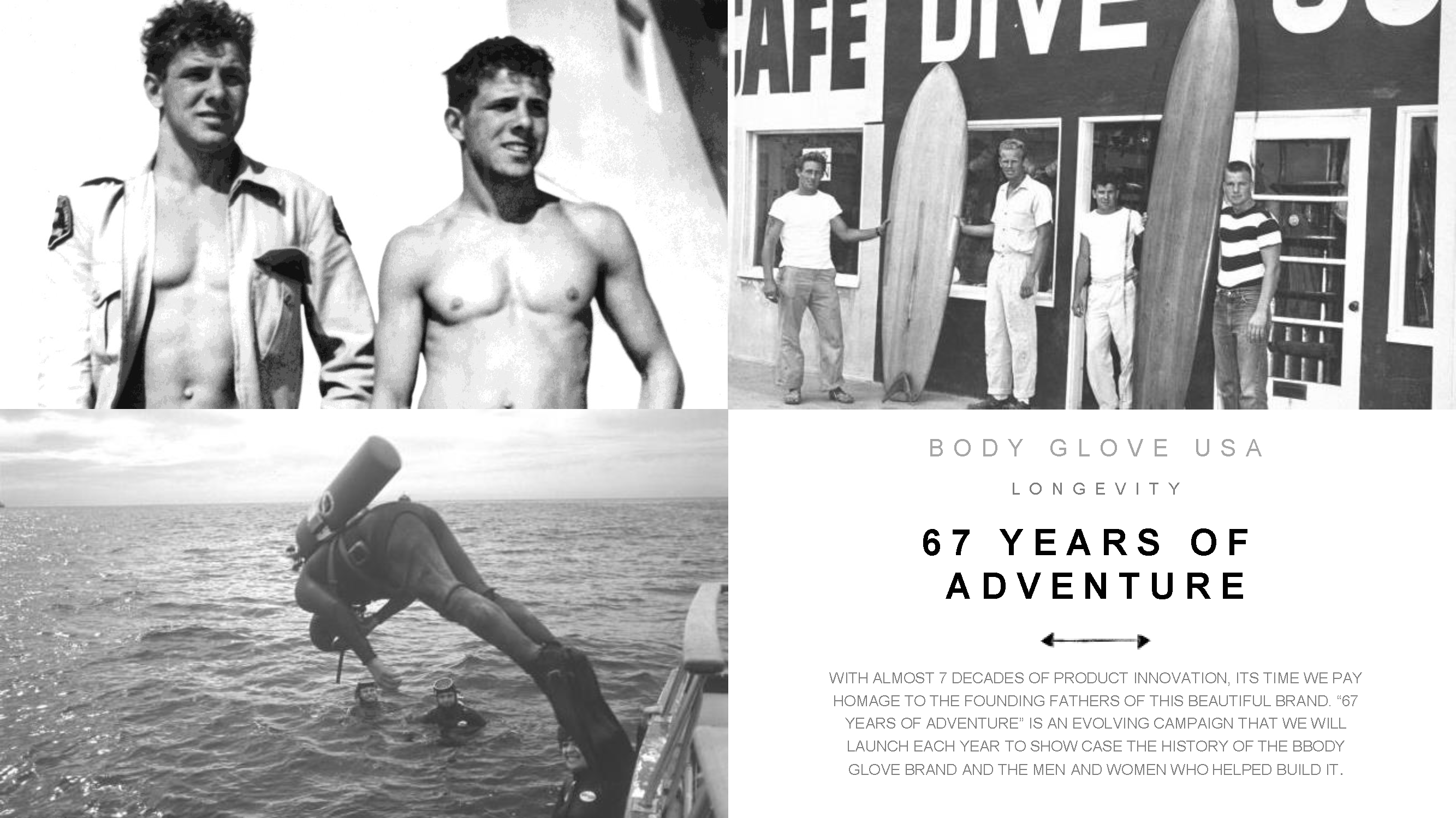 Inspired by all things water, California lifeguards and watermen Bill and Bob Meistrell constructed the first functional wetsuit, the 'body glove.' Now, with decades of product innovations and the philosophy of doing what you love, Body Glove remains dedicated to supporting people's passions in and out of the water. This is our story.