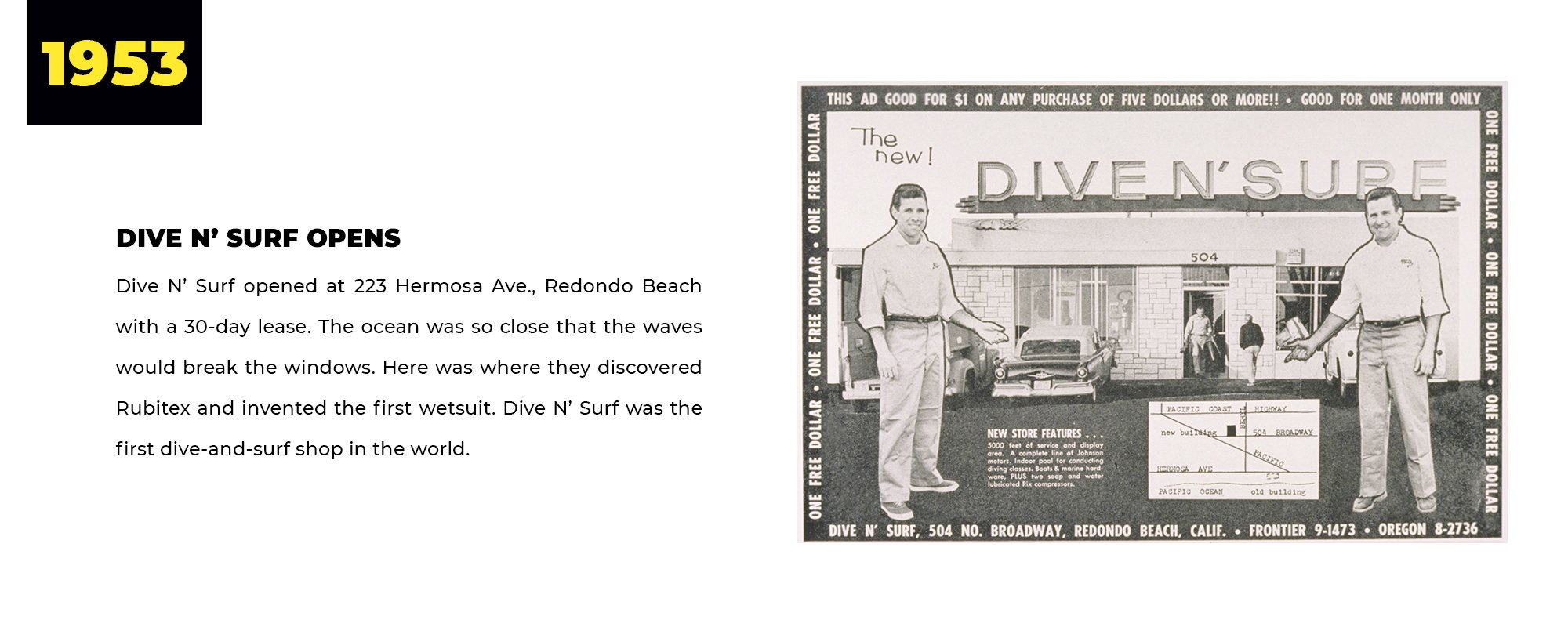 1953 | Dive N' Surf Opens | Dive N' Surf opened at 223 Hermosa Ave., Redondo Beach with a 30-day lease. The ocean was so close that the waves would break the windows. Here was where they discovered Rubitex and invented the first wetsuit. Dive N' Surf was the first dive-and-surf shop in the world.