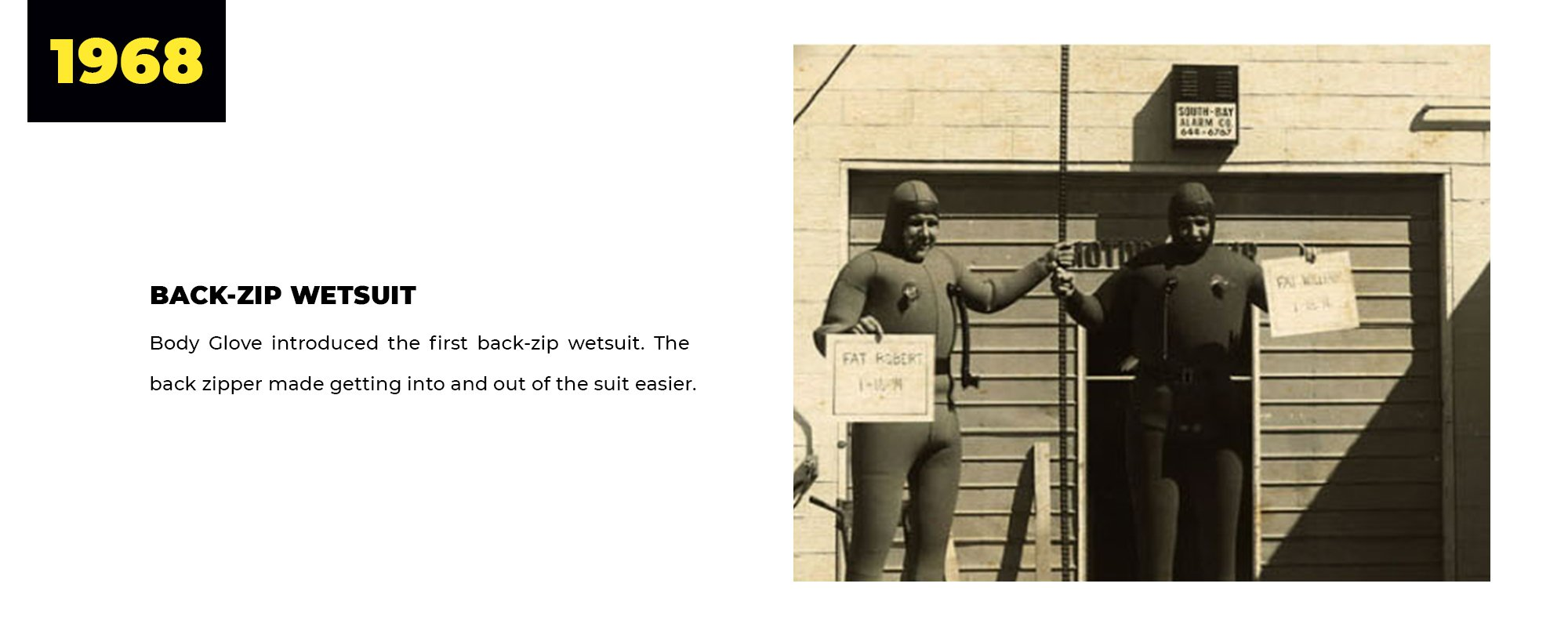 1968 | Back-Zip Wetsuit | Body Glove introduced the first back-zip wetsuit. The back zipper made getting into and out of the suit easier.