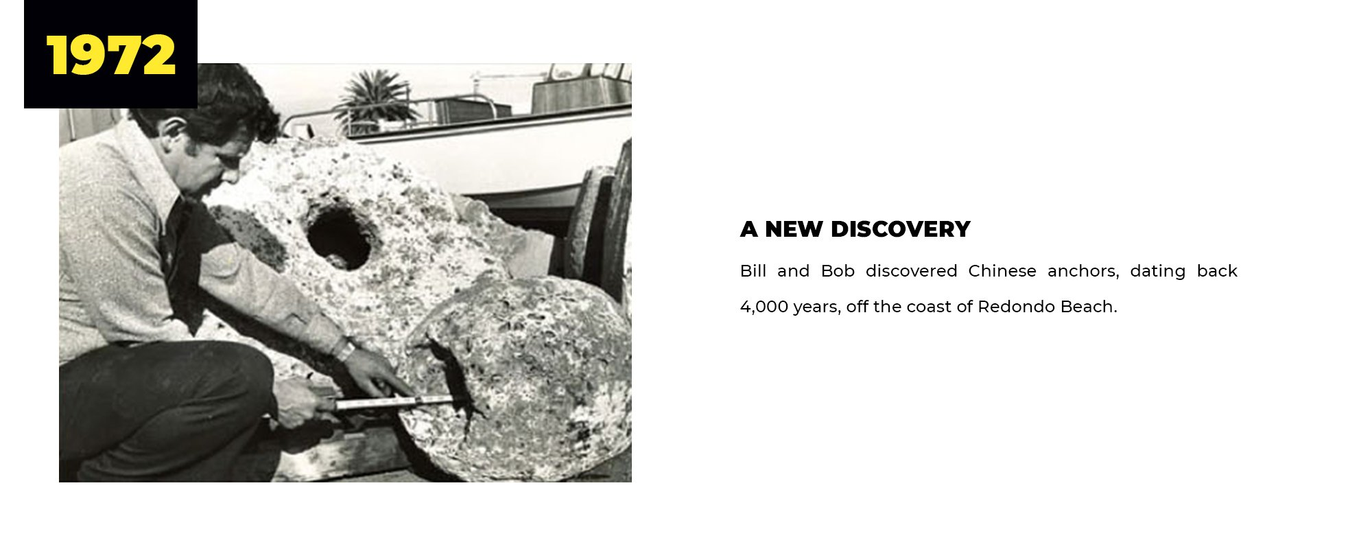 1972 | A New Discovery | Bill and Bob discovered Chinese anchors, dating back 4,000 years, off the coast of Redondo Beach.
