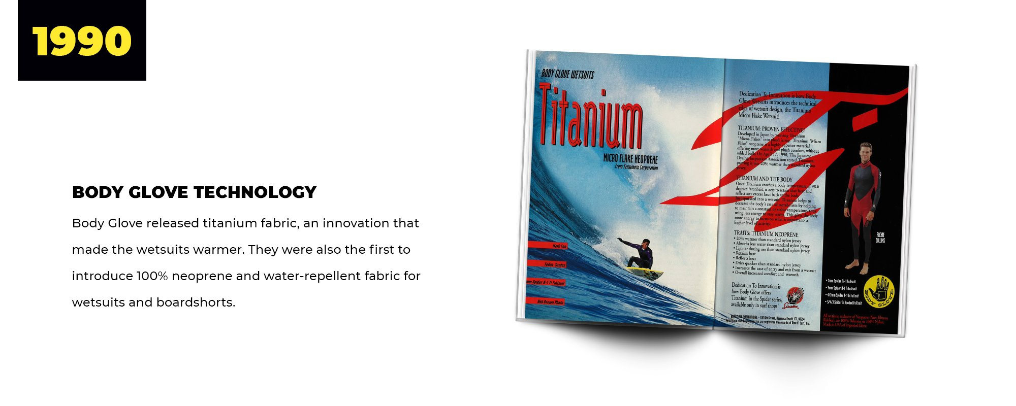 1990 | Body Glove Technology | Body Glove released titanium fabric, an innovation that made the wetsuits warmer. They were also the first to introduce 100% neoprene and water-repellent fabric for wetsuits and boardshorts.
