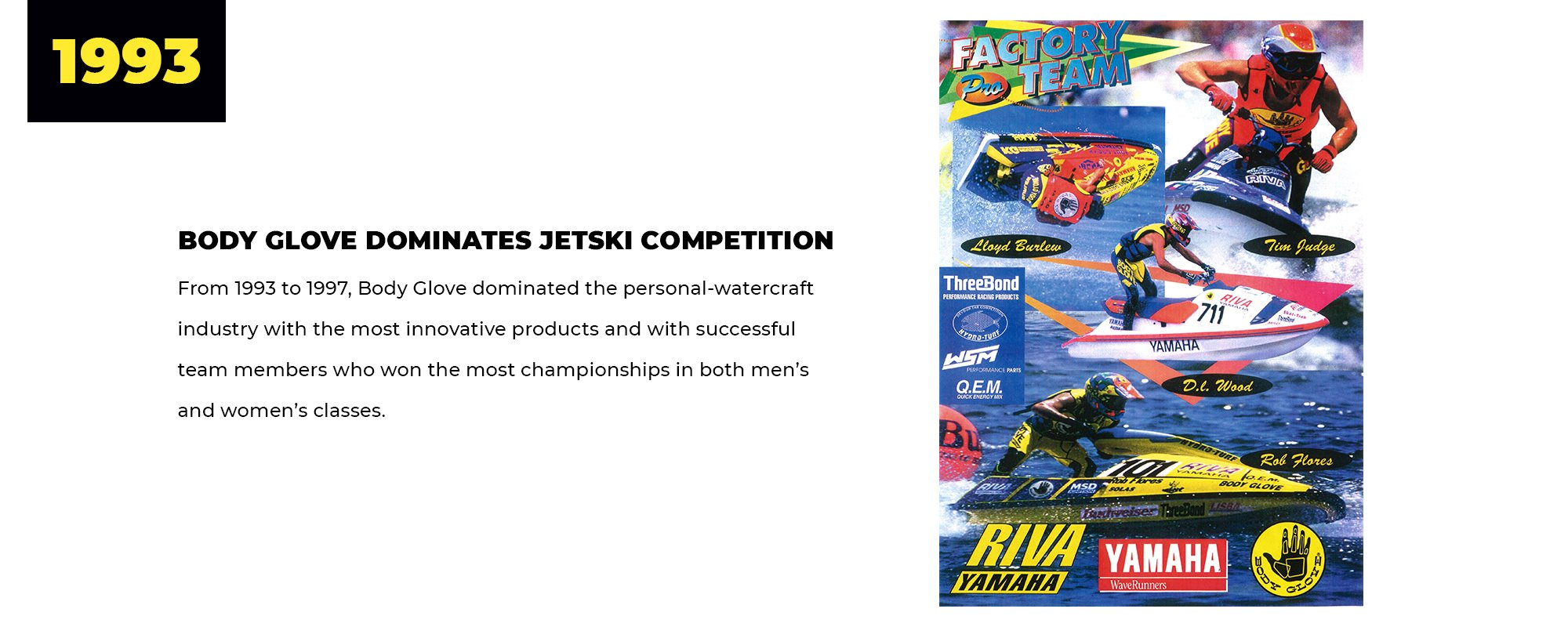 1993 | Body Glove Dominates Jetski Competition | From 1993 to 1997, Body Glove dominated the personal-watercraft industry with the most innovative products and with successful team members who won the most championships in both men's and women's classes.