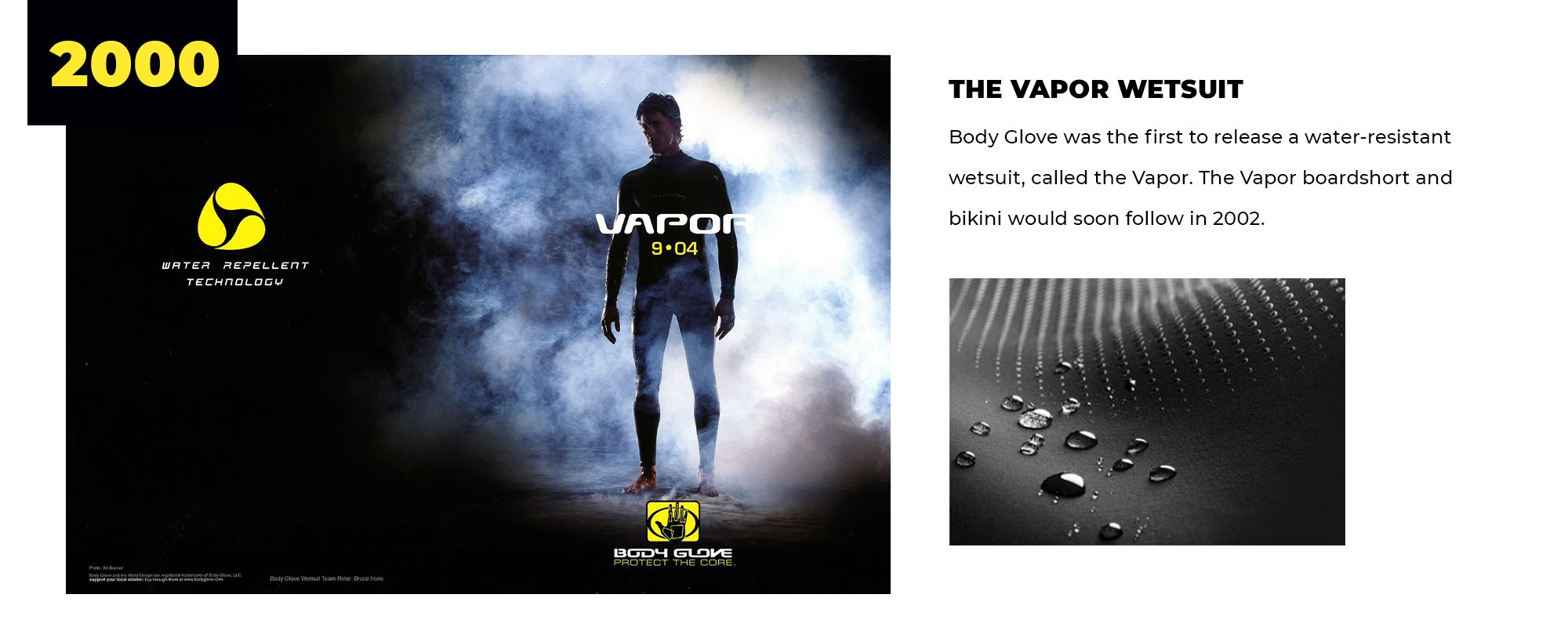2000 | The Vapor Wetsuit | Body Glove was the first to release a water-resistant wetsuit, called the Vapor. The Vapor boardshort and bikini would soon follow in 2002.