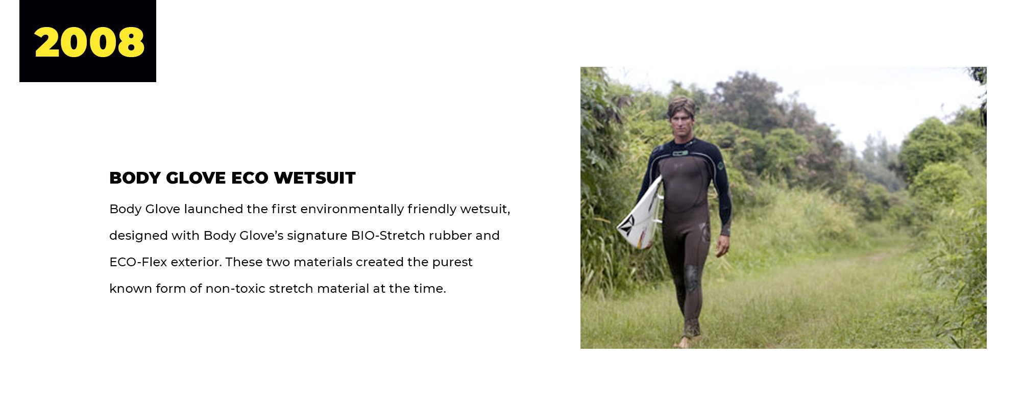2008 | Body Glove Eco Wetsuit | Body Glove launched the first environmentally friendly wetsuit, designed with Body Glove's signature BIO-Stretch rubber and ECO-Flex exterior. These two materials created the purest known form of non-toxic stretch material at the time.