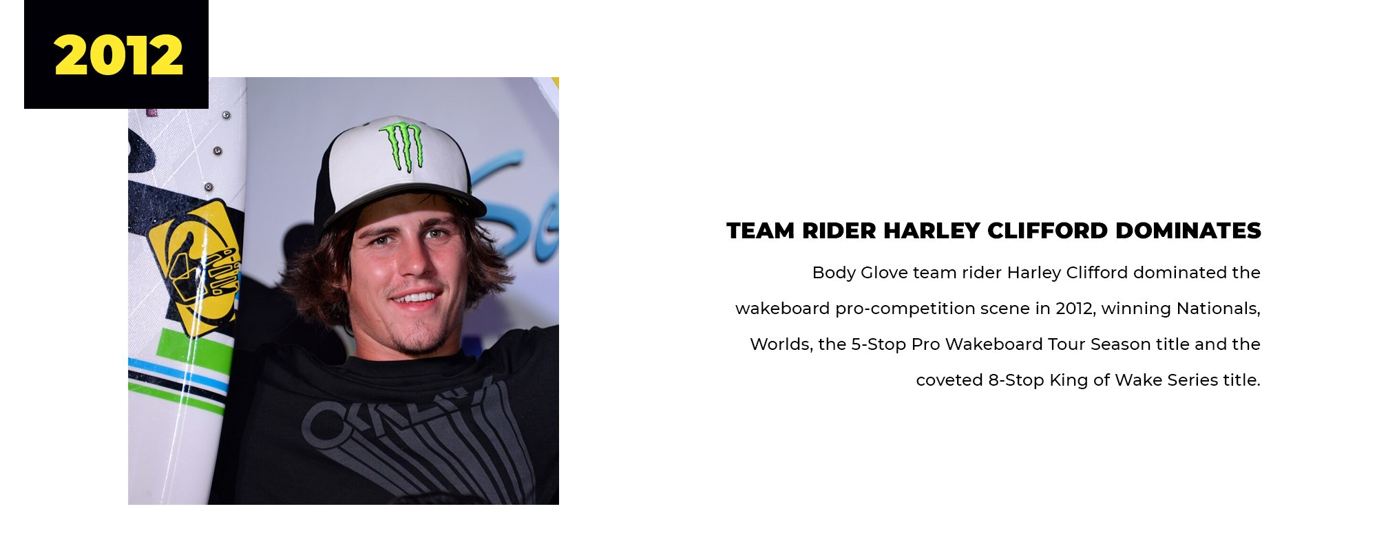 2012 | Team Rider Harley Clifford Dominates | Body Glove team rider Harley Clifford dominated the wakeboard pro-competition scene in 2012, winning Nationals, Worlds, the 5-Stop Pro Wakeboard Tour Season title, and the coveted 8-Stop King of Wake Series title.