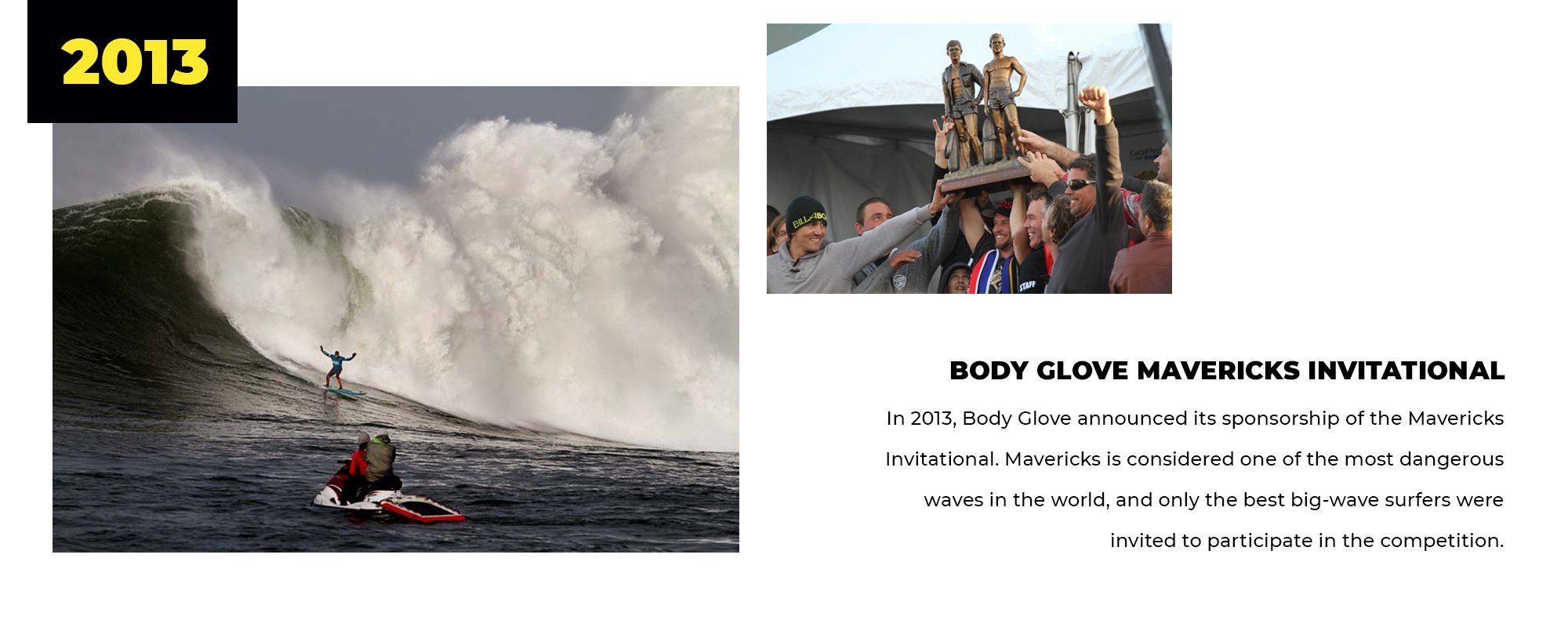 2013 | Body Glove Mavericks Invitational | In 2013, Body Glove announced its sponsorship of the Mavericks Invitational. Mavericks is considered one of the most dangerous waves in the world, and only the best big-wave surfers were invited to participate in the competition.