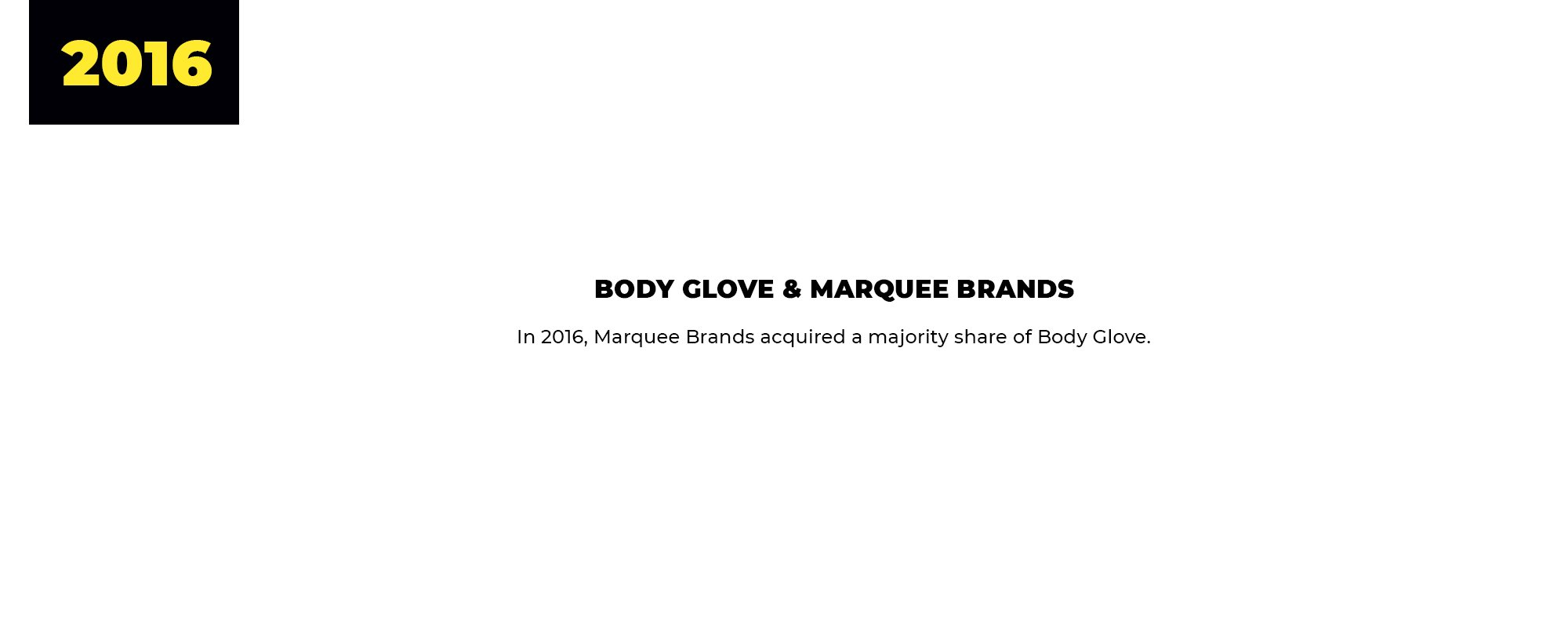 2016 | Body Glove & Marquee Brands | In 2016, Marquee Brands acquired a majority share of Body Glove.
