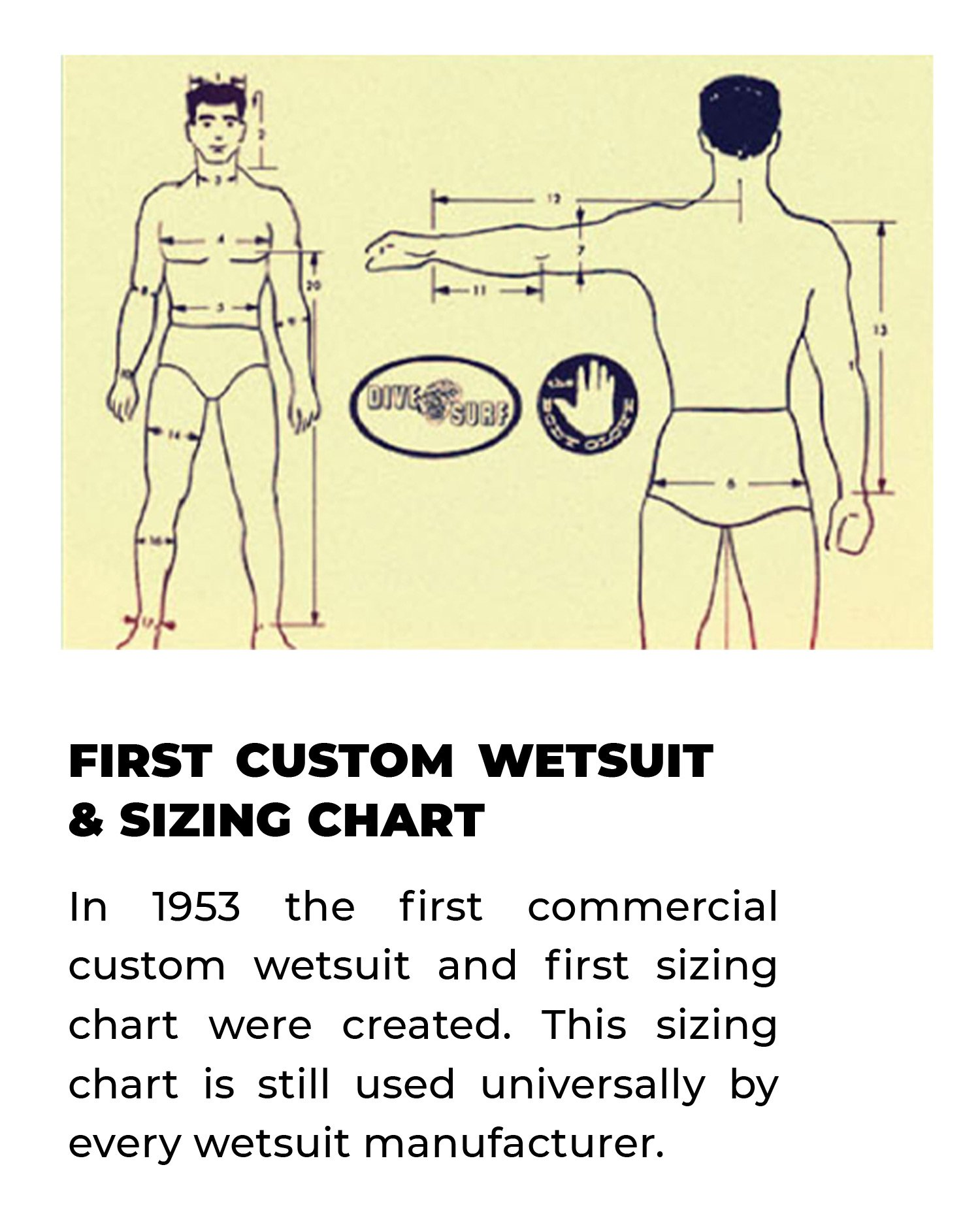 First Custom Wetsuit & Sizing Chart | In 1953 the first commercial custom wetsuit and first sizing chart were created. This sizing chart is still used universally by every wetsuit manufacturer.