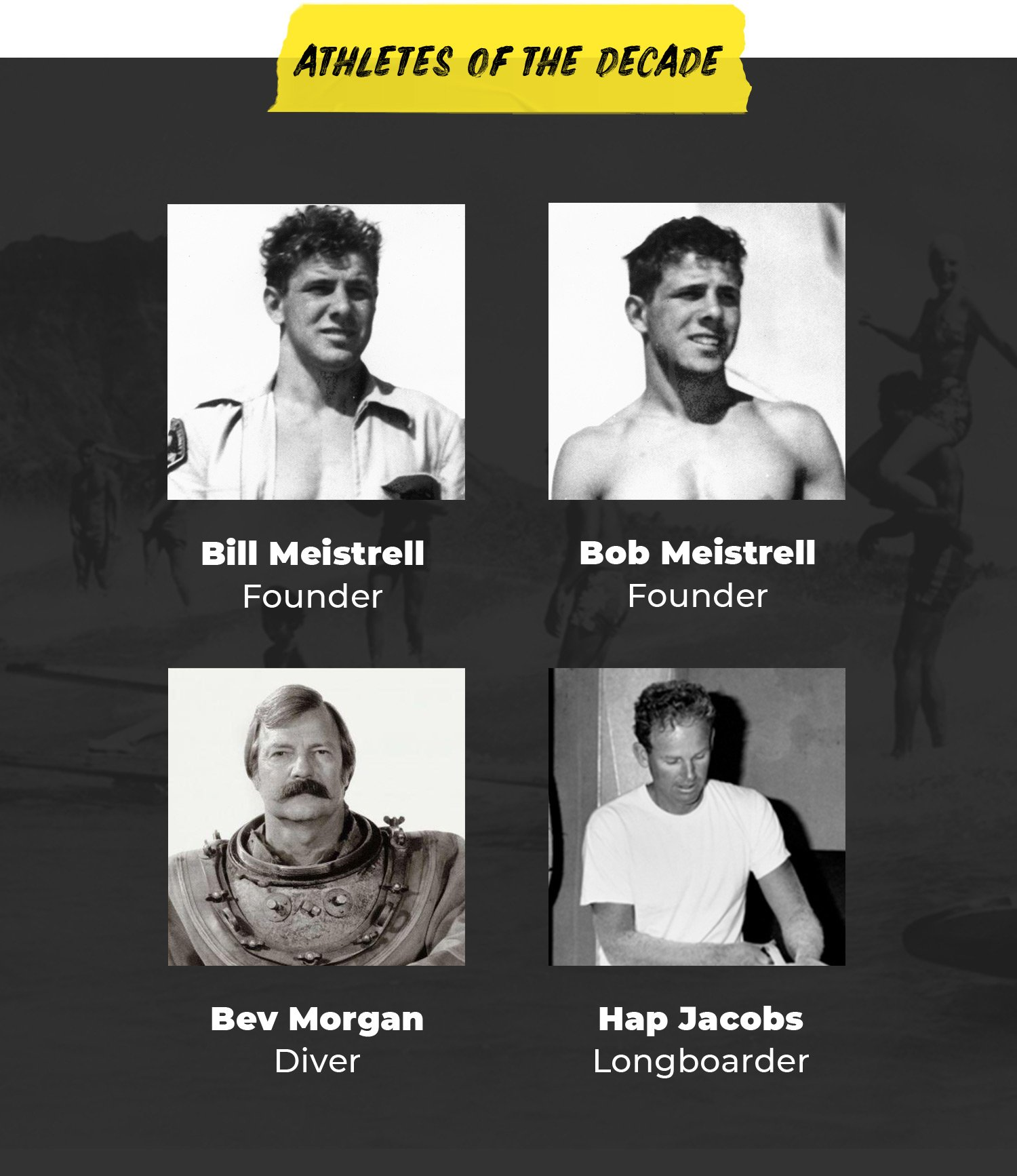 Athletes of the Decade | Bill Meistrell, Founder | Bob Meistrell, Founder | Bev Morgan, Diver | Hap Jacobs, Longboarder