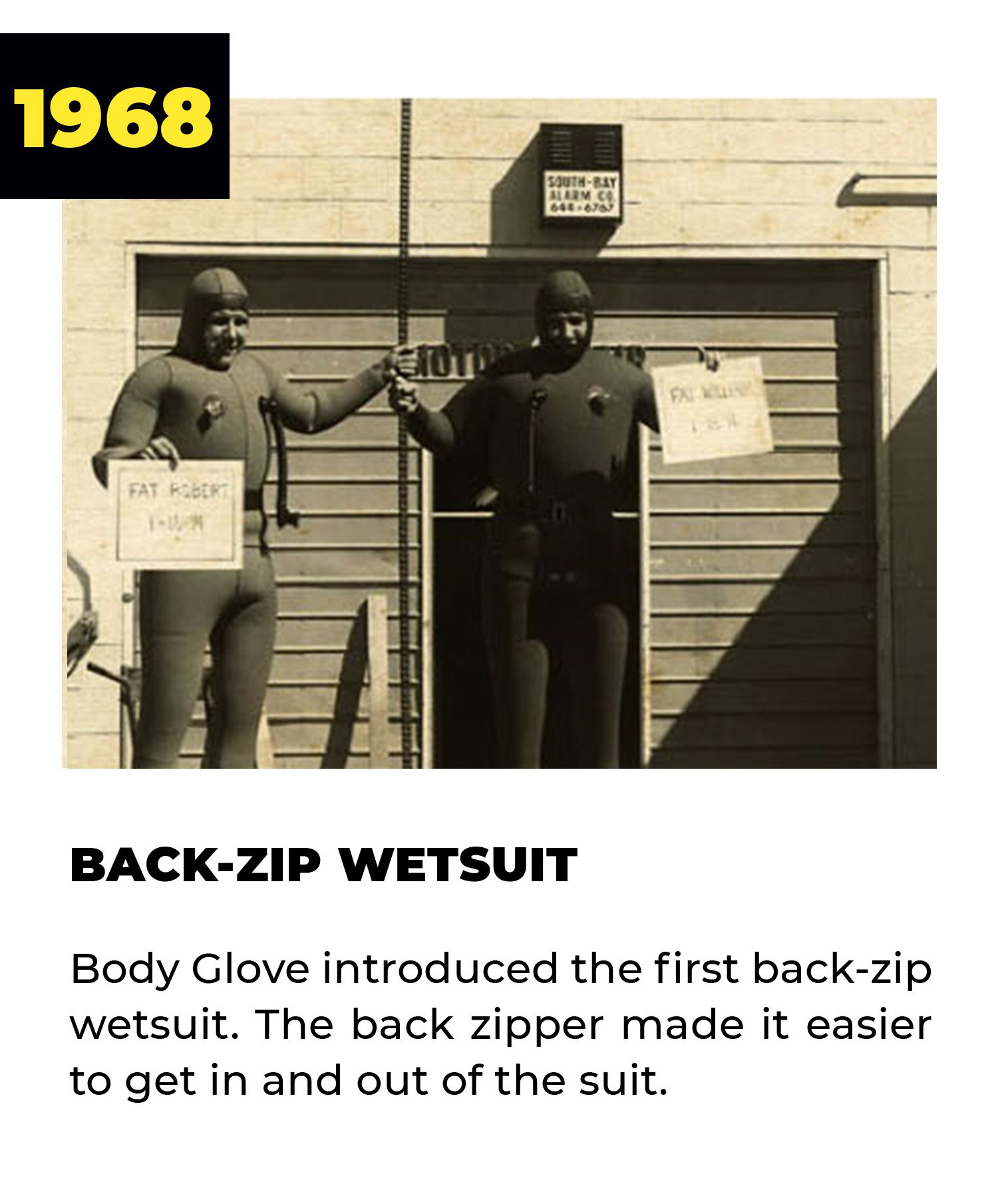 1968 | Back-Zip Wetsuit | Body Glove introduced the first back-zip wetsuit. The back zipper made it easier to get in and out of the suit.