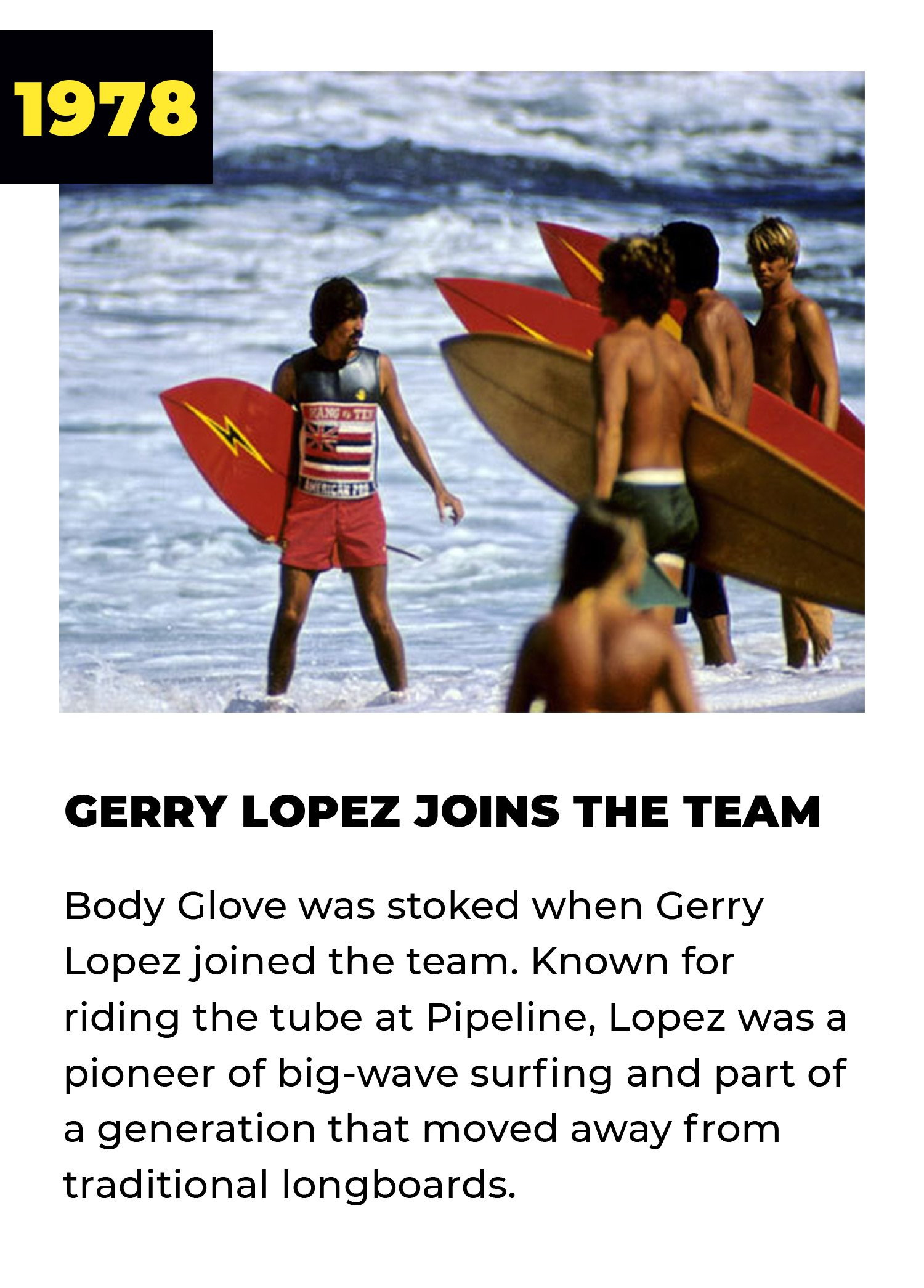 1978 | Gerry Lopez Joins the Team | Body Glove was stoked when Gerry Lopez joined the team. Known for riding the tube at Pipeline, Lopez was a pioneer of big-wave surfing and part of a generation that moved away from traditional longboards.