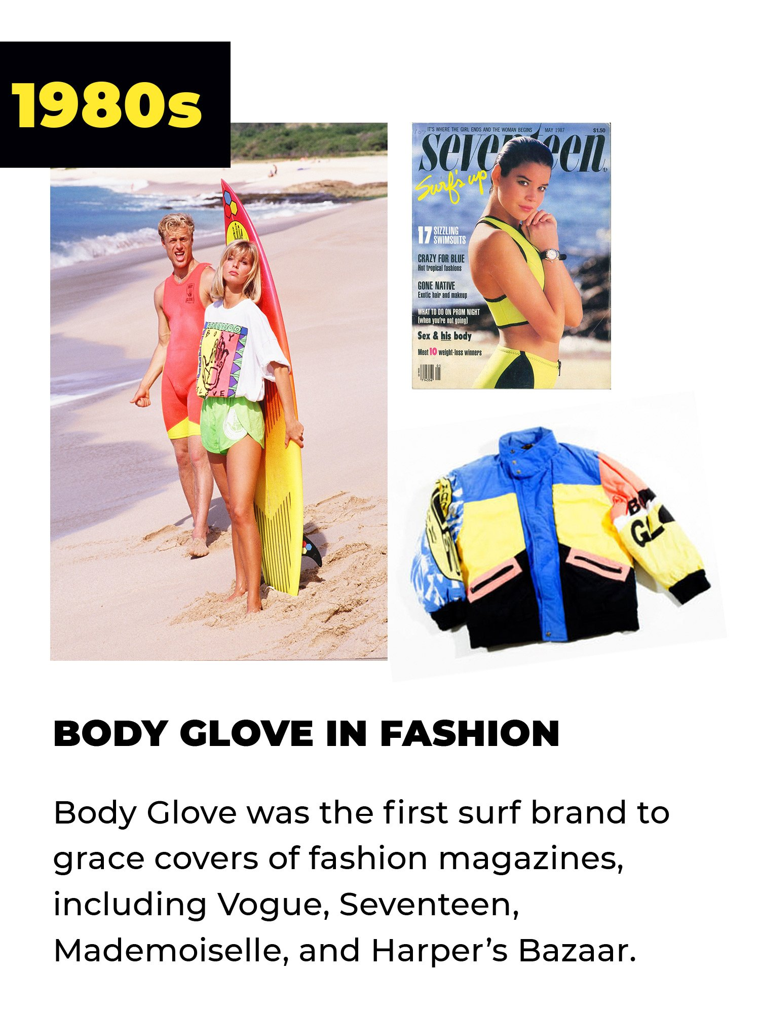 1980s | Body Glove in Fashion | Body Glove was the first surf brand to grace covers of fashion magazines, including Vogue, Seventeen, Mademoiselle, and Harper's Bazaar.