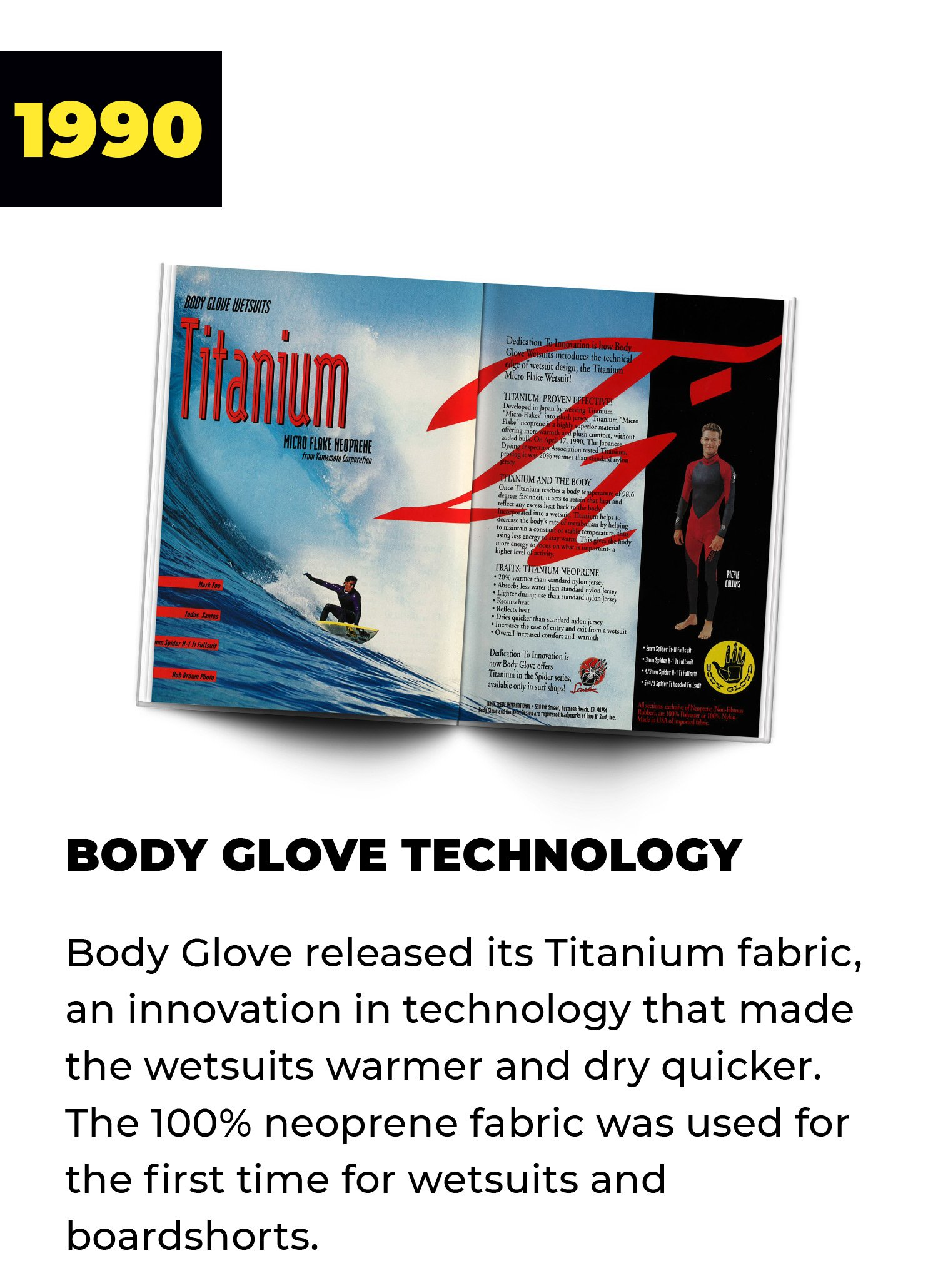 1990 | Body Glove Technology | Body Glove released its Titanium fabric, an innovation in technology that made the wetsuits warmer and dry quicker. The 100% neoprene fabric was used for the first time for wetsuits and boardshorts.
