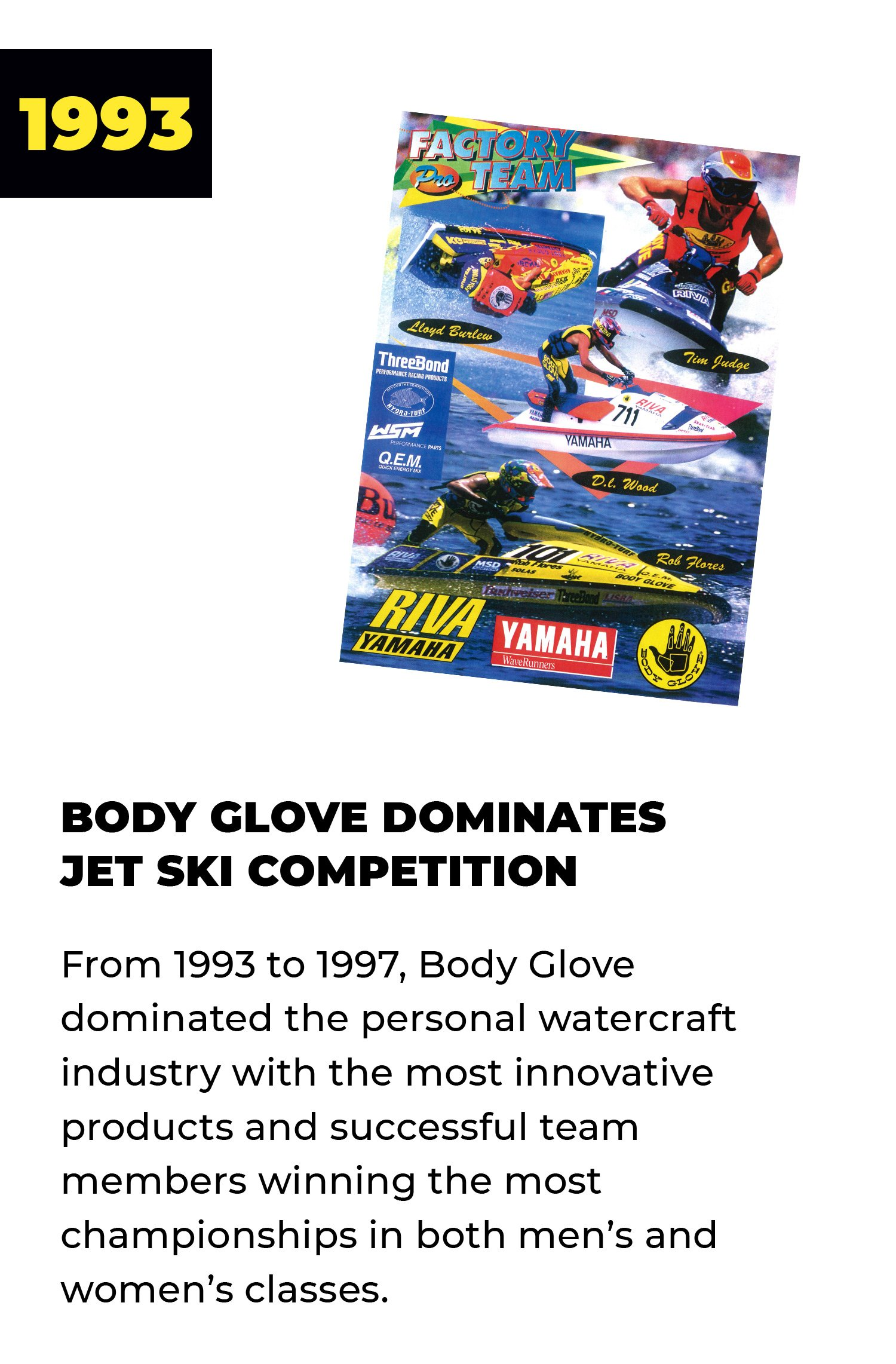1993 | Body Glove Dominates Jet Ski Competition | Fro 1993 to 1997, Body Glove dominated the personal watercraft industry with the most innovative products and successful team members winning the most championships in both men's and women's classes.