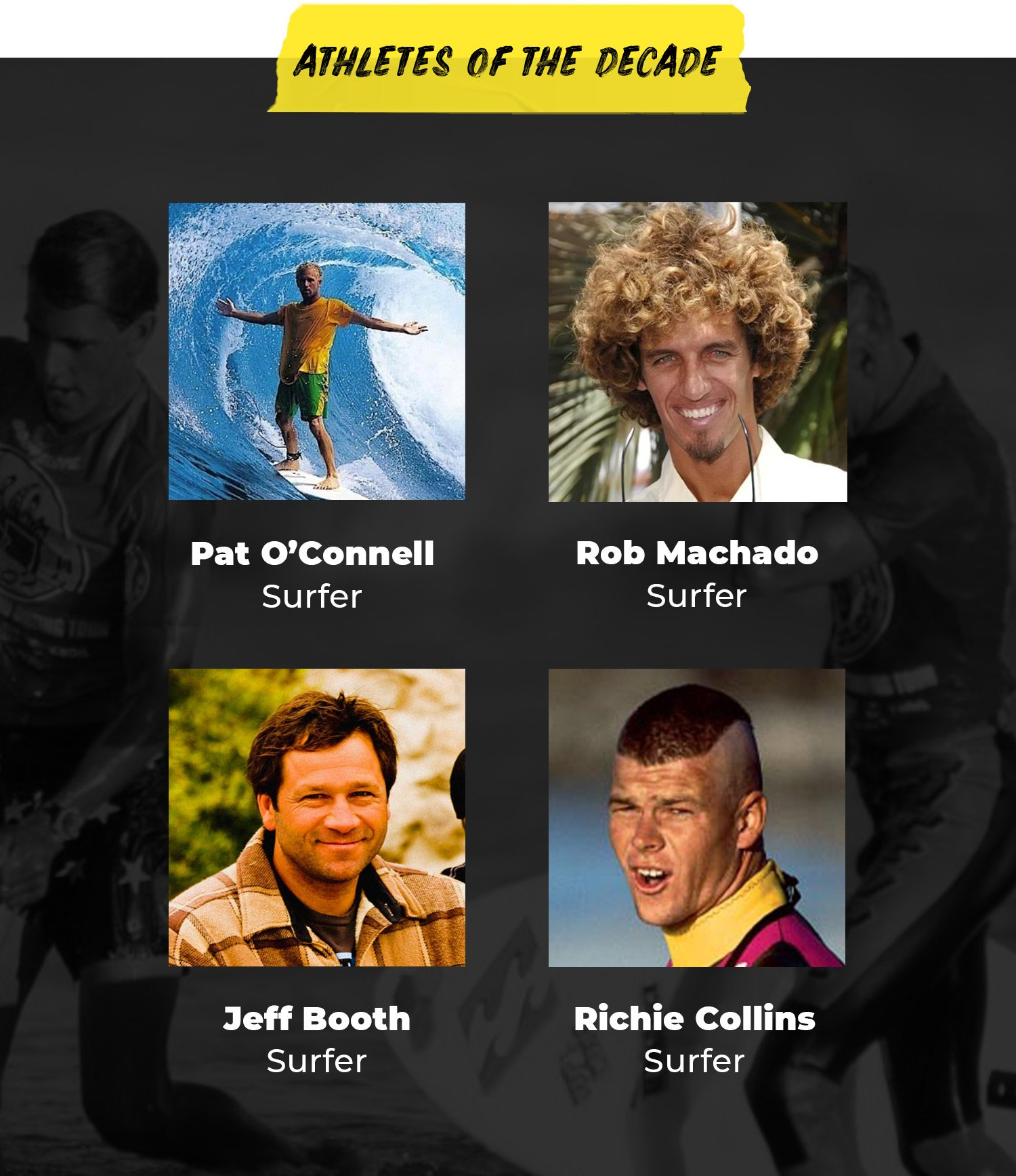 Athletes of the Decade | Pat O'Connell, Surfer | Rob Machado, Surfer | Jeff Booth, Surfer | Richie Collins, Surfer