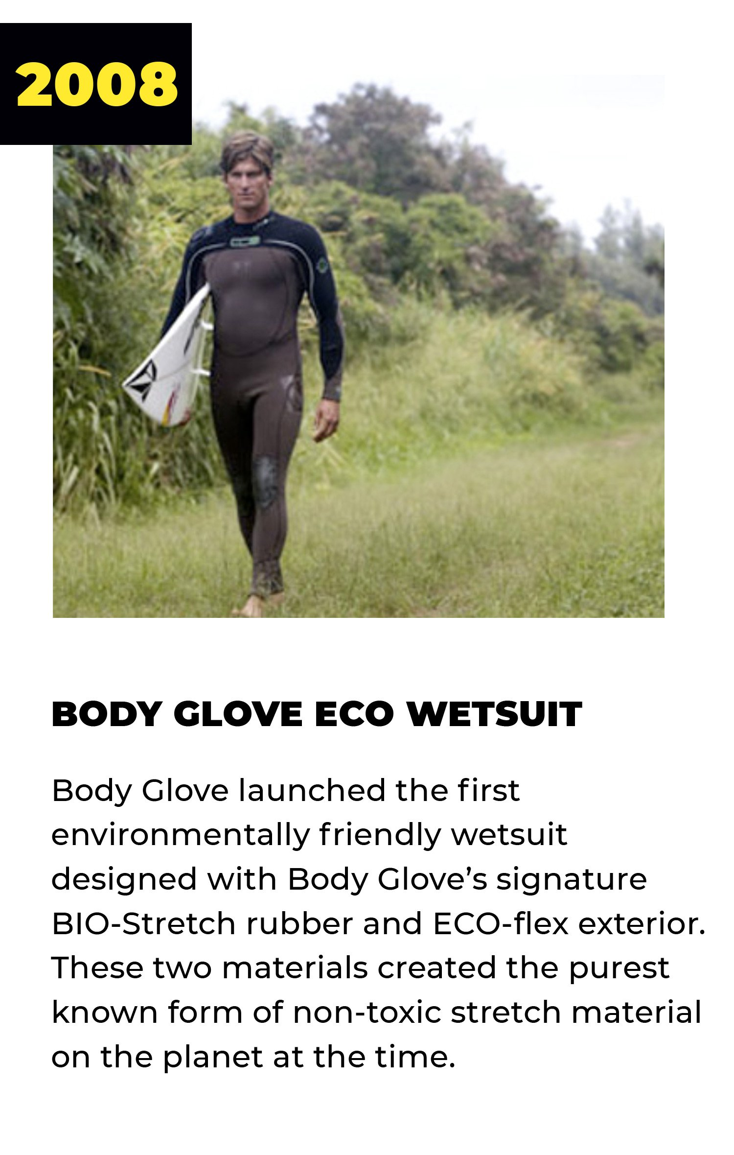 2008 | Body Glove Eco Wetsuit | Body Glove launched the first environmentally friendly wetsuit designed with Body Glove's signature BIO-Stretch rubber and ECO-flex exterior. These two materials created the purest known form of non-toxic stretch material on the planet at the time.