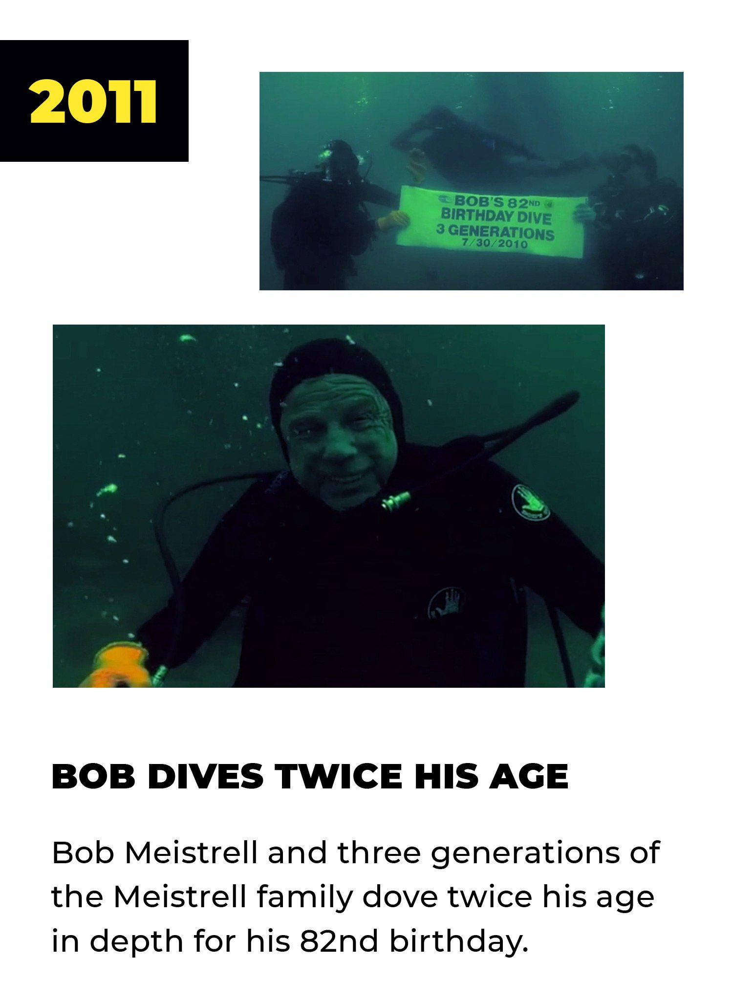 2011 | Bob Dives Twice His Age | Bob Meistrell and three generations of the Meistrell family dove twice his age in depth for his 82nd birthday.