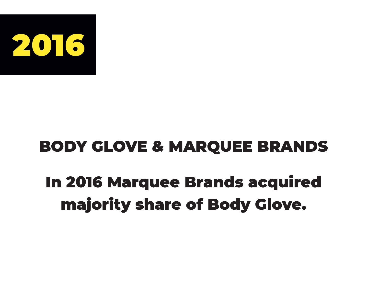 2016 | Body Glove & Marquee Brands | In 2016 Marquee Brands acquired majority share of Body Glove.