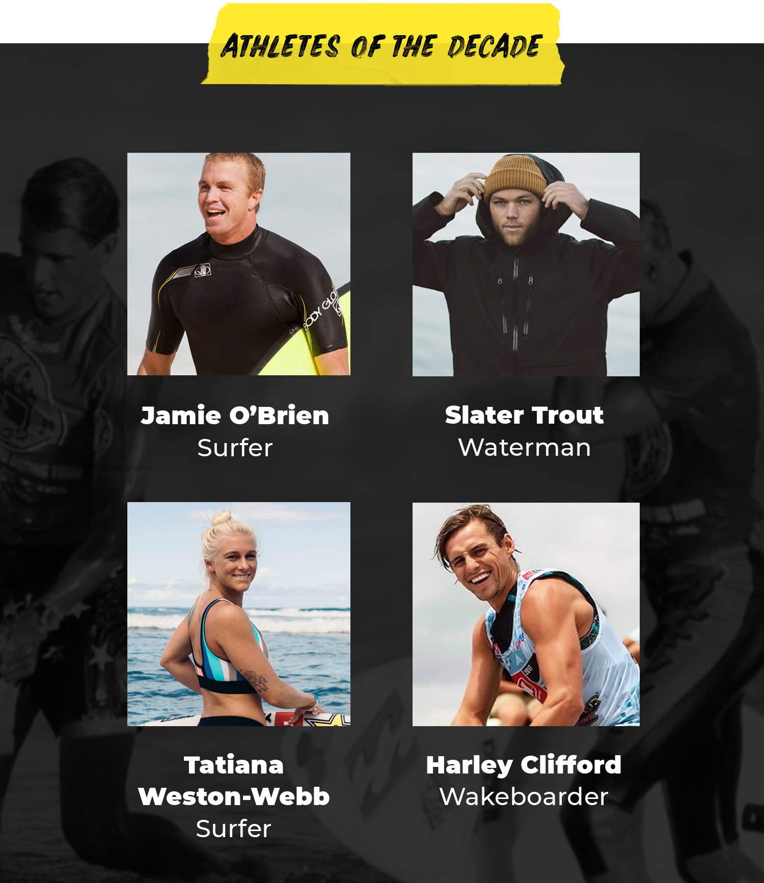 Athletes of the Decade | Jamie O'Brien, Surfer | Slater Trout, Waterman | Tatiana Weston-Webb, Surfer | Harley Clifford, Wakeboarder